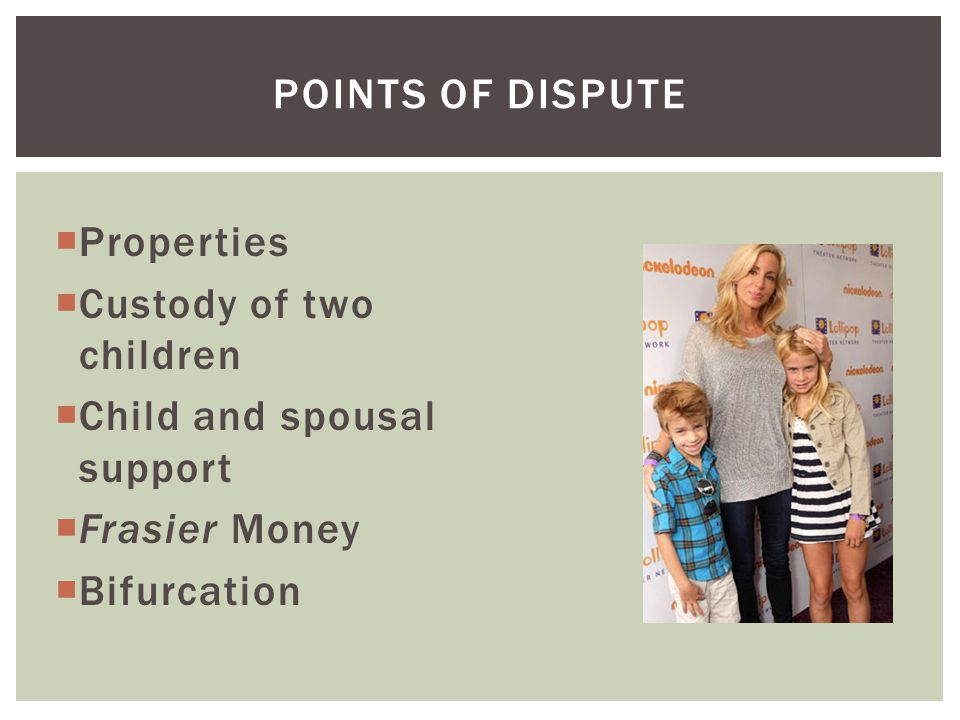 Points of dispute Properties. Custody of two children. Child and spousal support. Frasier Money.