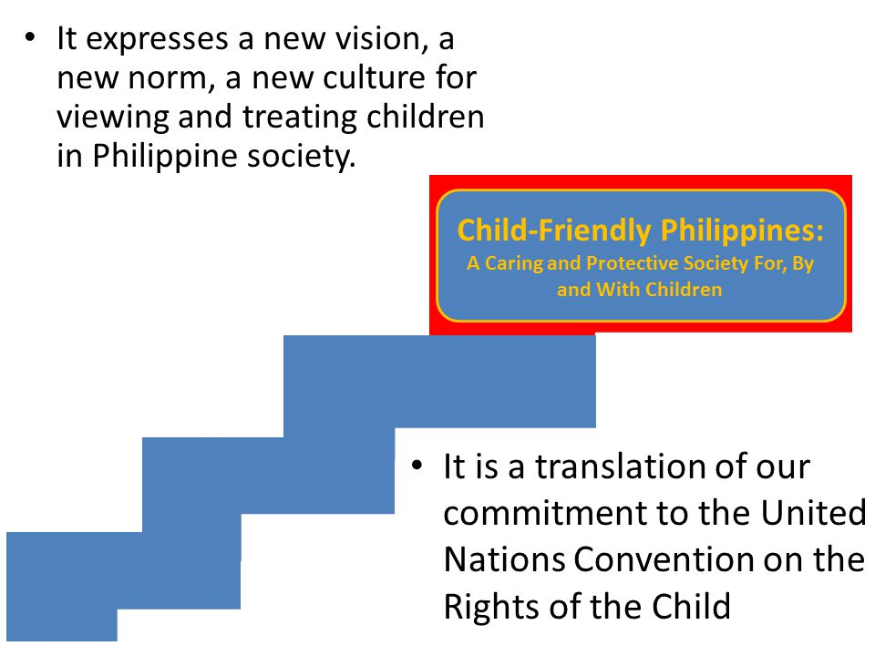 It expresses a new vision, a new norm, a new culture for viewing and treating children in Philippine society.