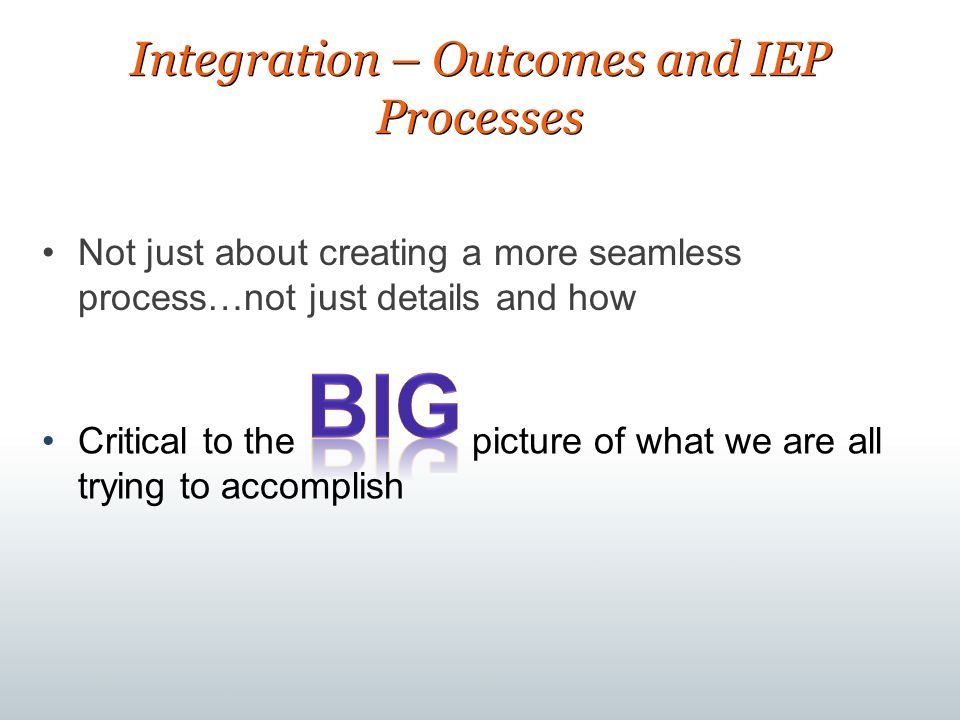 Integration – Outcomes and IEP Processes