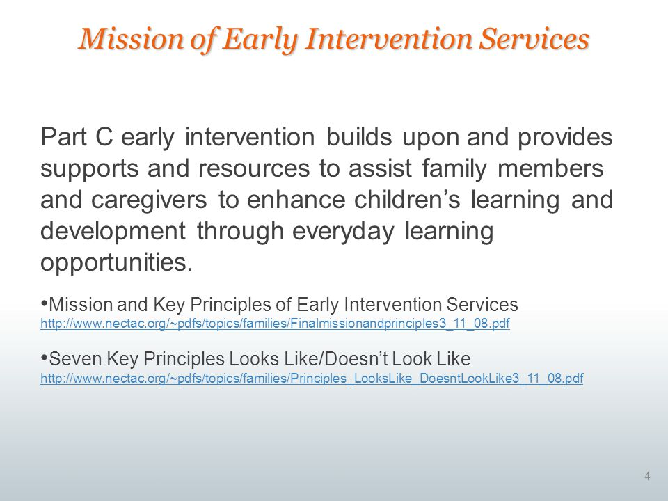 Mission of Early Intervention Services
