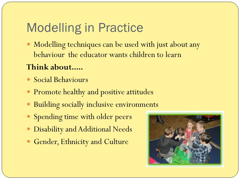 Modelling in Practice Modelling techniques can be used with just about any behaviour the educator wants children to learn.