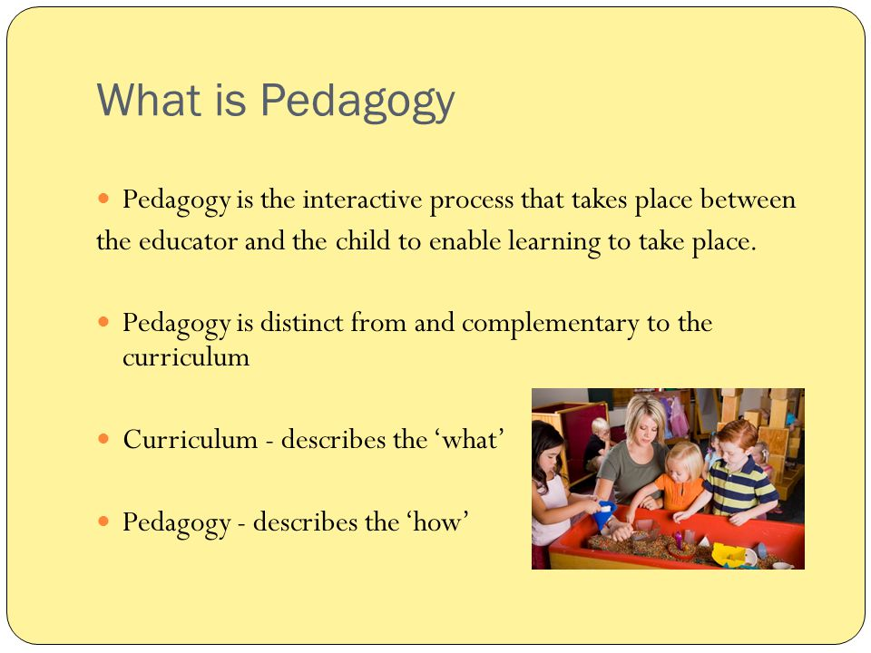 What is Pedagogy Pedagogy is the interactive process that takes place between. the educator and the child to enable learning to take place.