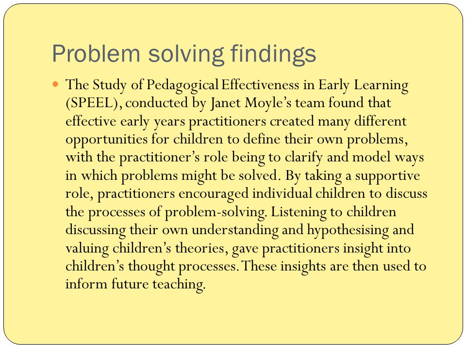 Problem solving findings