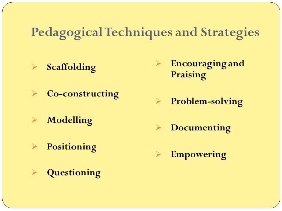 Pedagogical Techniques and Strategies