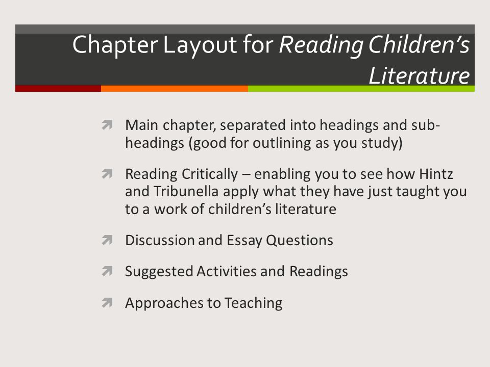 Chapter Layout for Reading Children's Literature