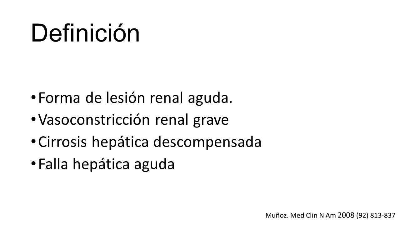 Definición Forma de lesión renal aguda. Vasoconstricción renal grave