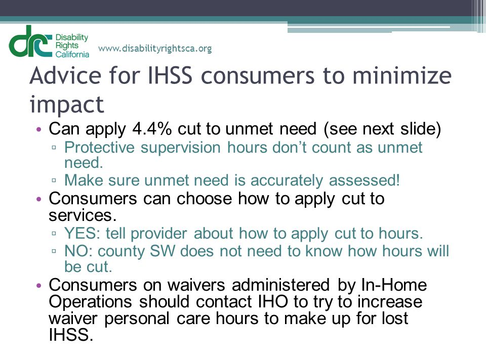 Advice for IHSS consumers to minimize impact