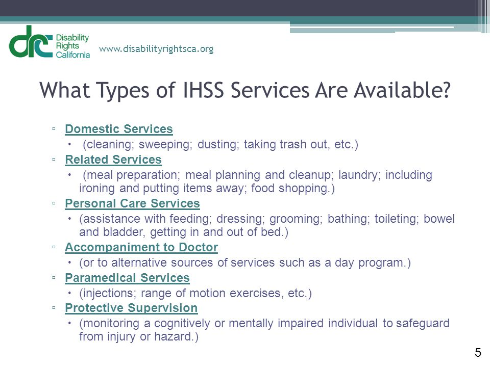 What Types of IHSS Services Are Available