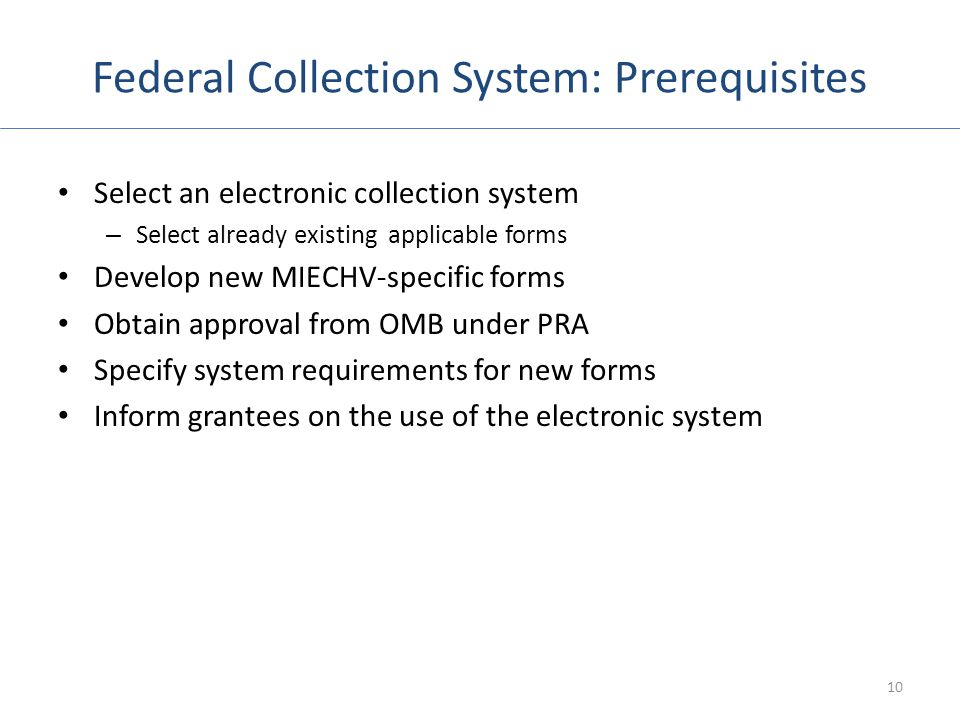 Federal Collection System: Prerequisites