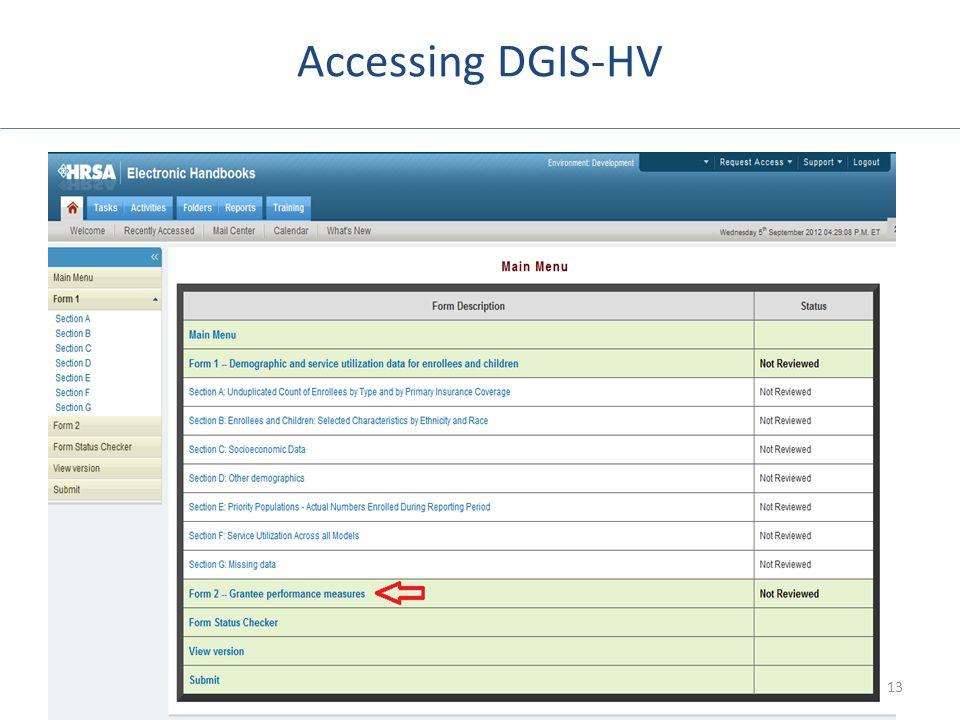 Accessing DGIS-HV Screenshot of Main Menu