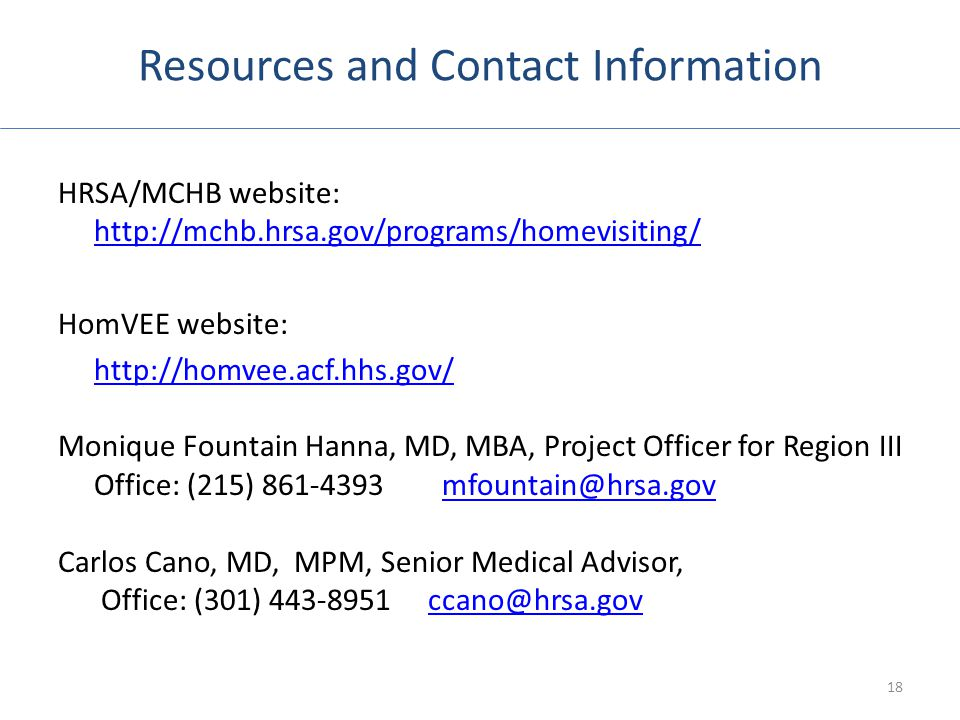 Resources and Contact Information