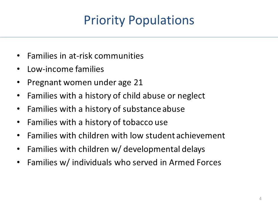 Priority Populations Families in at-risk communities