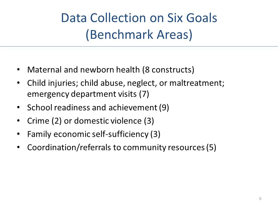 Data Collection on Six Goals (Benchmark Areas)