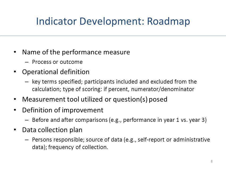 Indicator Development: Roadmap