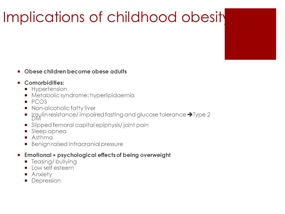 Implications of childhood obesity