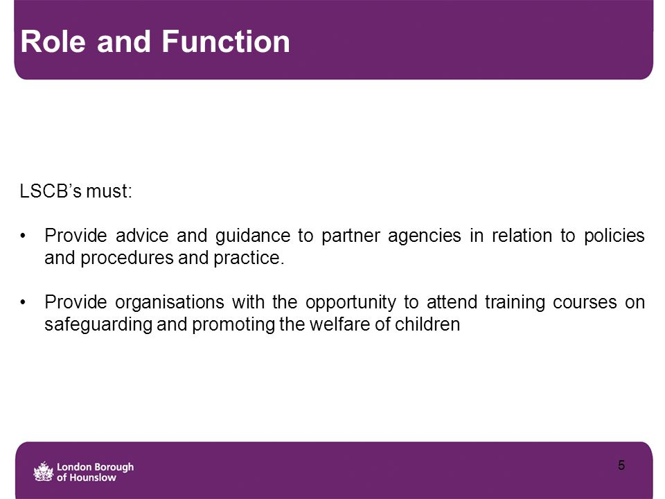 Role and Function LSCB's must: