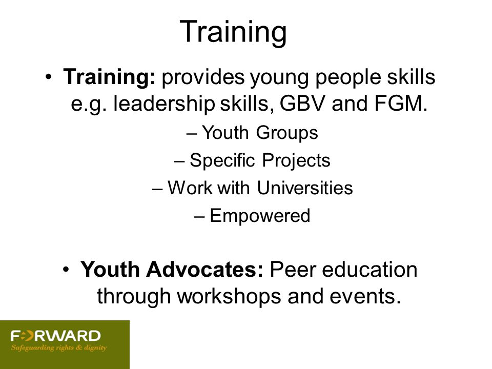 Training Training: provides young people skills e.g. leadership skills, GBV and FGM. Youth Groups.
