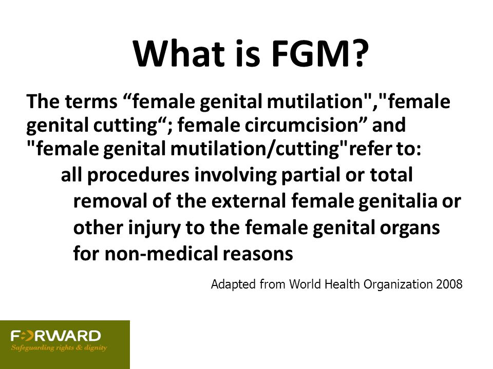 What is FGM The terms female genital mutilation , female genital cutting ; female circumcision and female genital mutilation/cutting refer to: