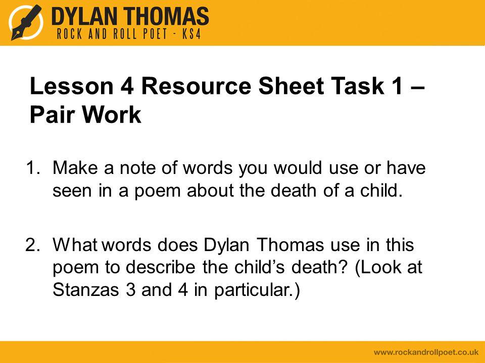 Lesson 4 Resource Sheet Task 1 – Pair Work