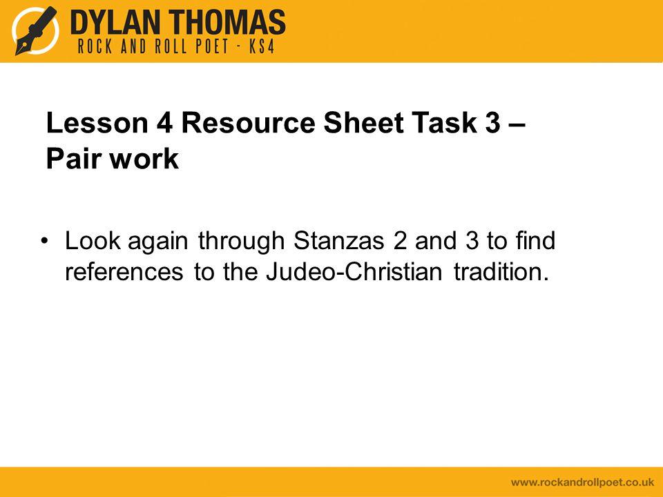 Lesson 4 Resource Sheet Task 3 – Pair work