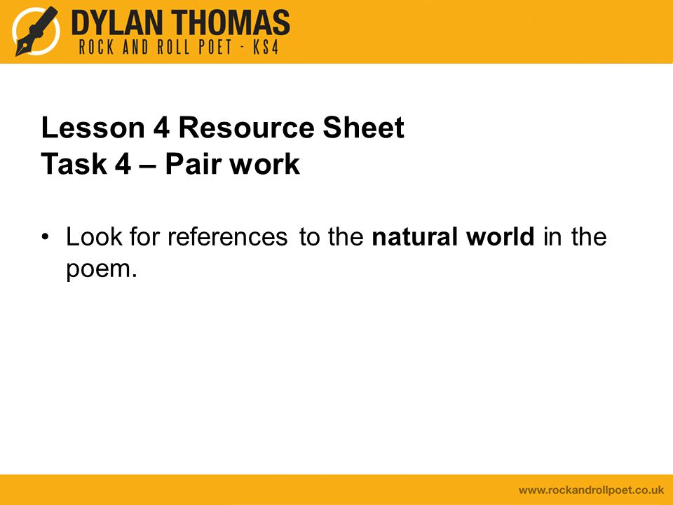 Lesson 4 Resource Sheet Task 4 – Pair work
