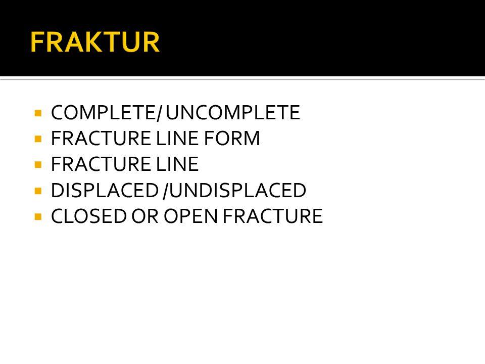 FRAKTUR COMPLETE/ UNCOMPLETE FRACTURE LINE FORM FRACTURE LINE