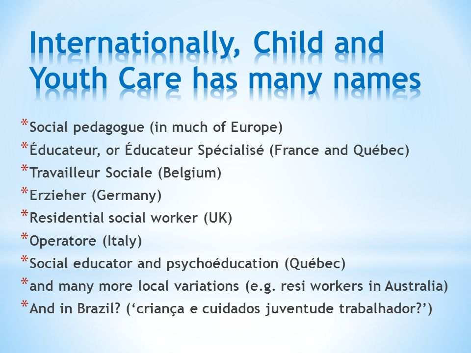 Internationally, Child and Youth Care has many names