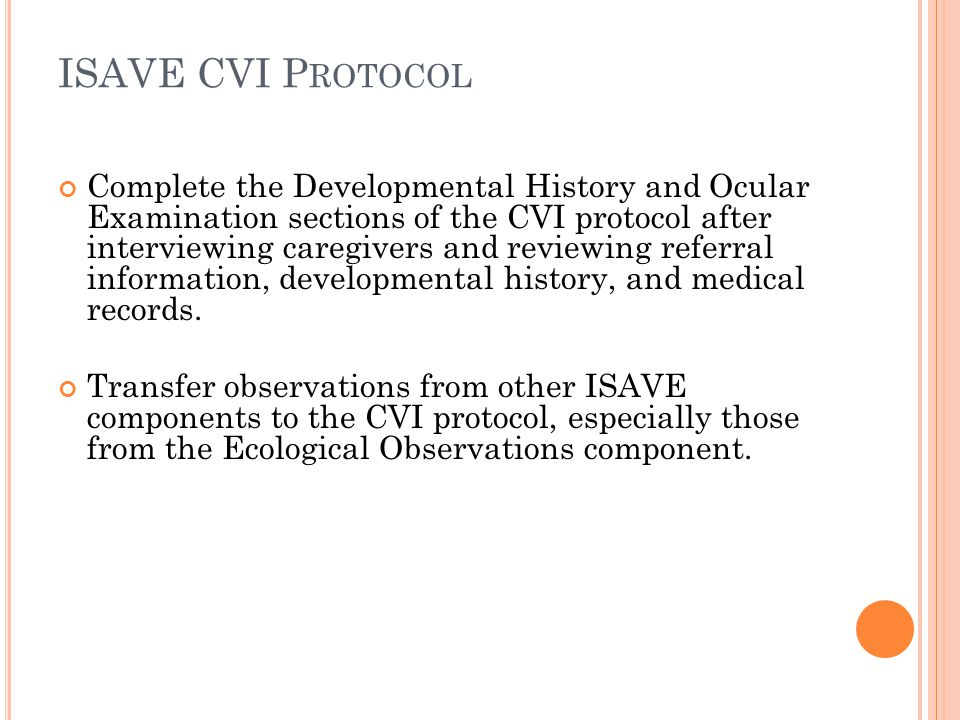 ISAVE CVI Protocol
