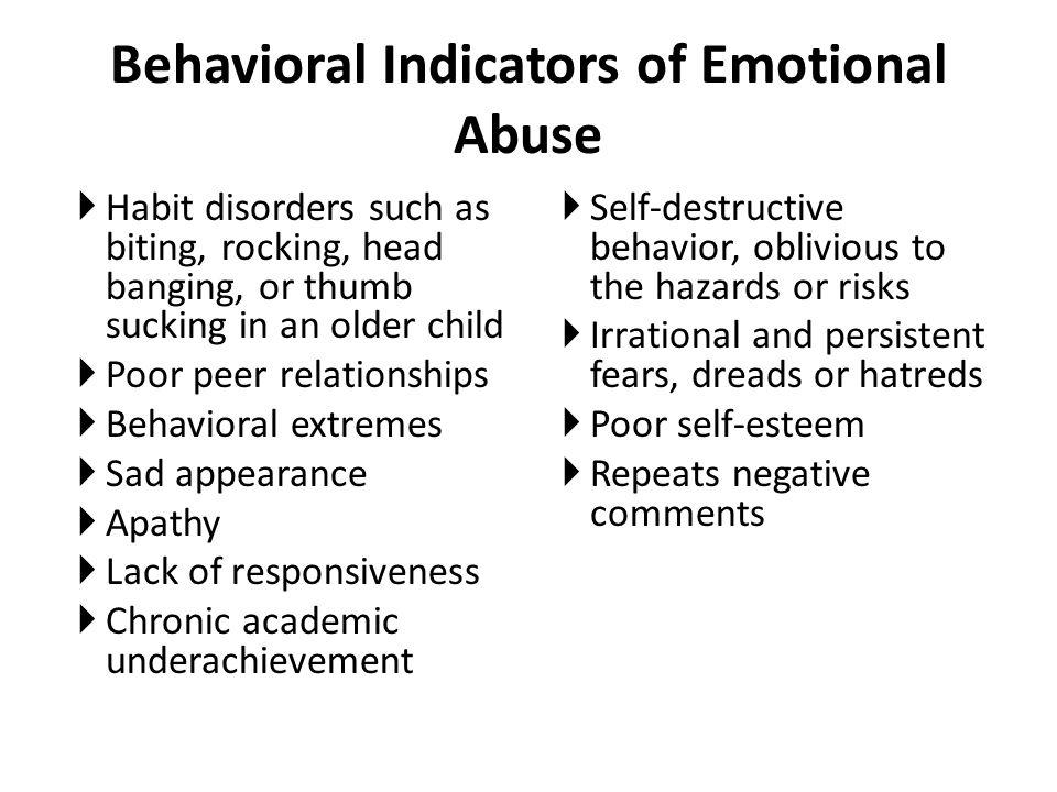 Behavioral Indicators of Emotional Abuse