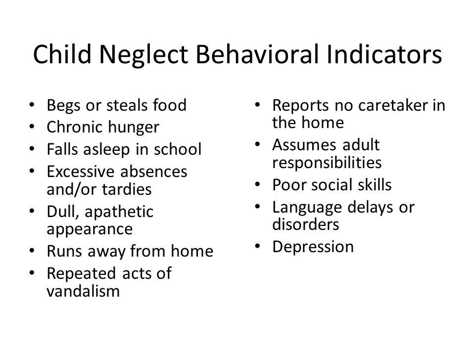 Child Neglect Behavioral Indicators