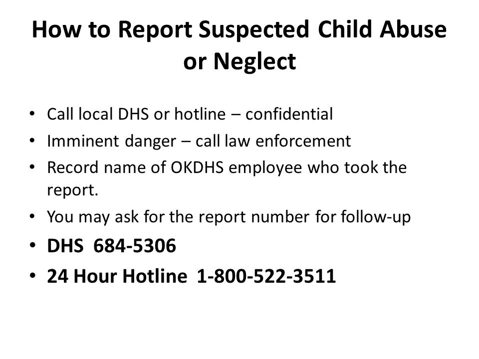 How to Report Suspected Child Abuse or Neglect