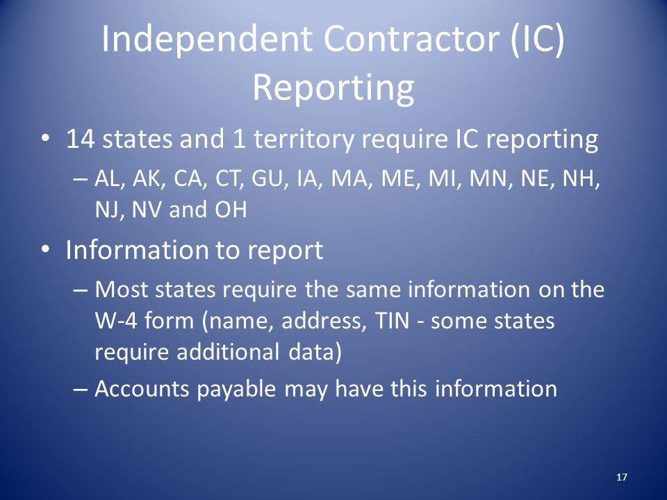 Independent Contractor (IC) Reporting
