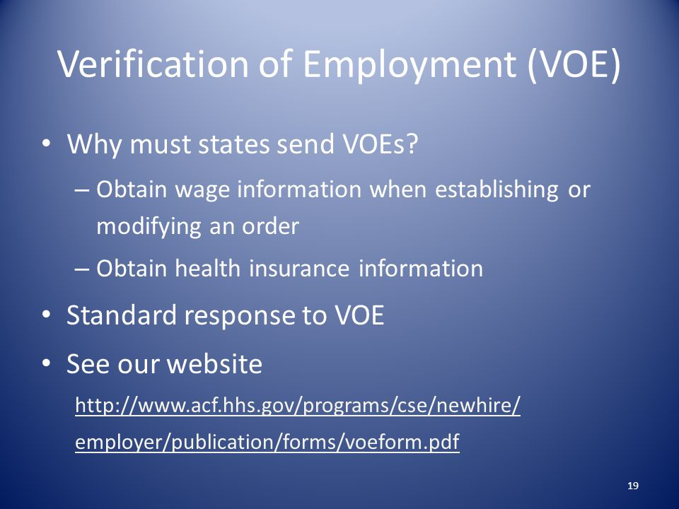 Verification of Employment (VOE)