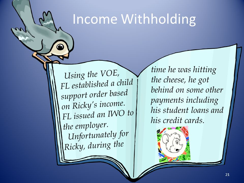 Income Withholding time he was hitting the cheese, he got behind on some other payments including his student loans and his credit cards.