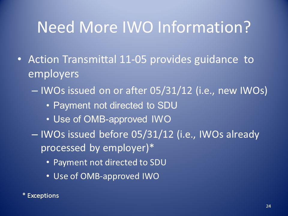 Need More IWO Information