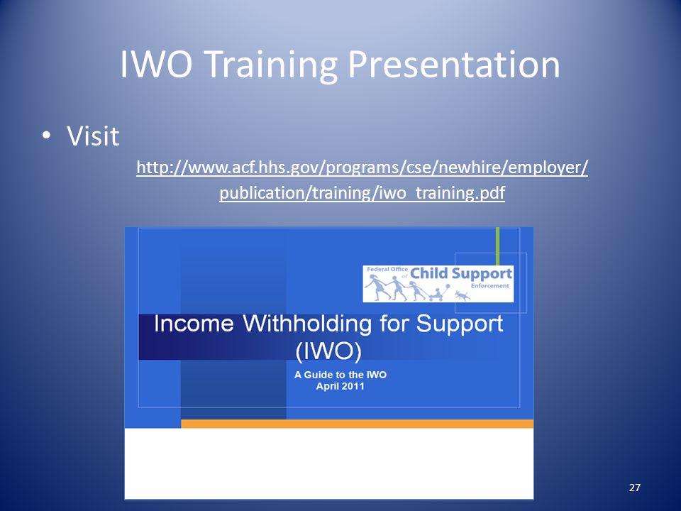 IWO Training Presentation