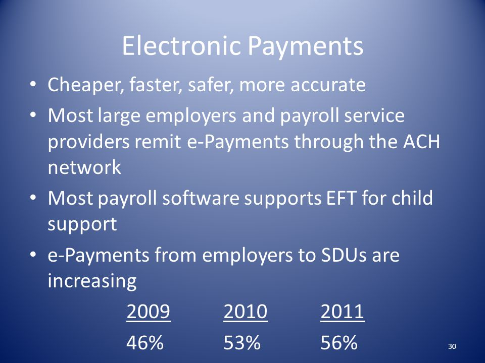 Electronic Payments Cheaper, faster, safer, more accurate