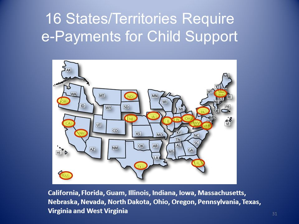 16 States/Territories Require e-Payments for Child Support
