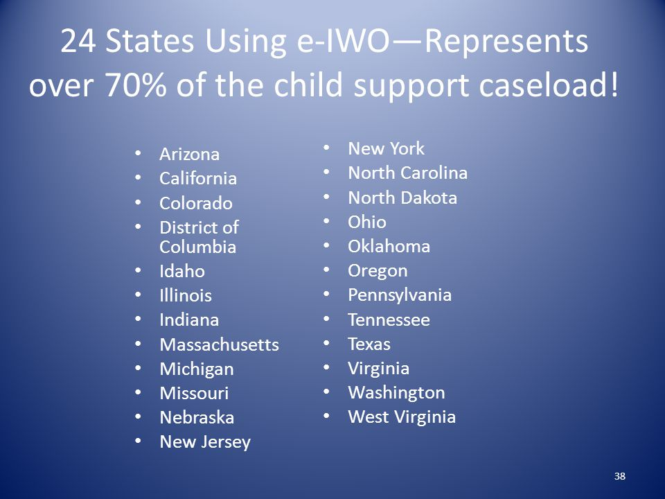 24 States Using e-IWO—Represents over 70% of the child support caseload!