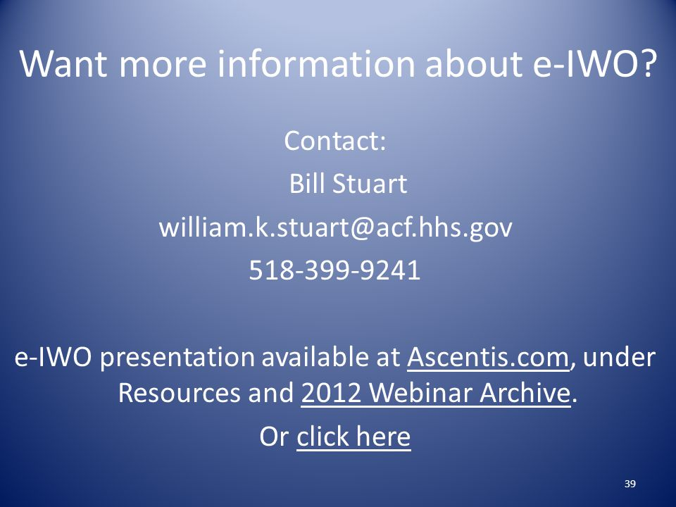 Want more information about e-IWO