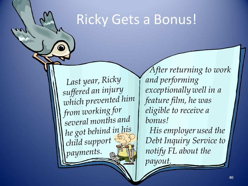 Ricky Gets a Bonus! After returning to work and performing exceptionally well in a feature film, he was eligible to receive a bonus!
