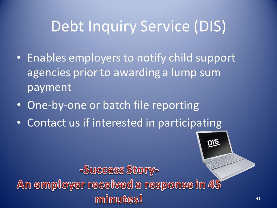 Debt Inquiry Service (DIS)