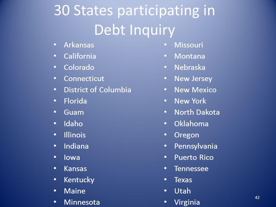 30 States participating in Debt Inquiry