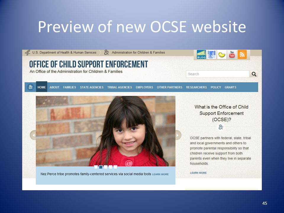 Preview of new OCSE website