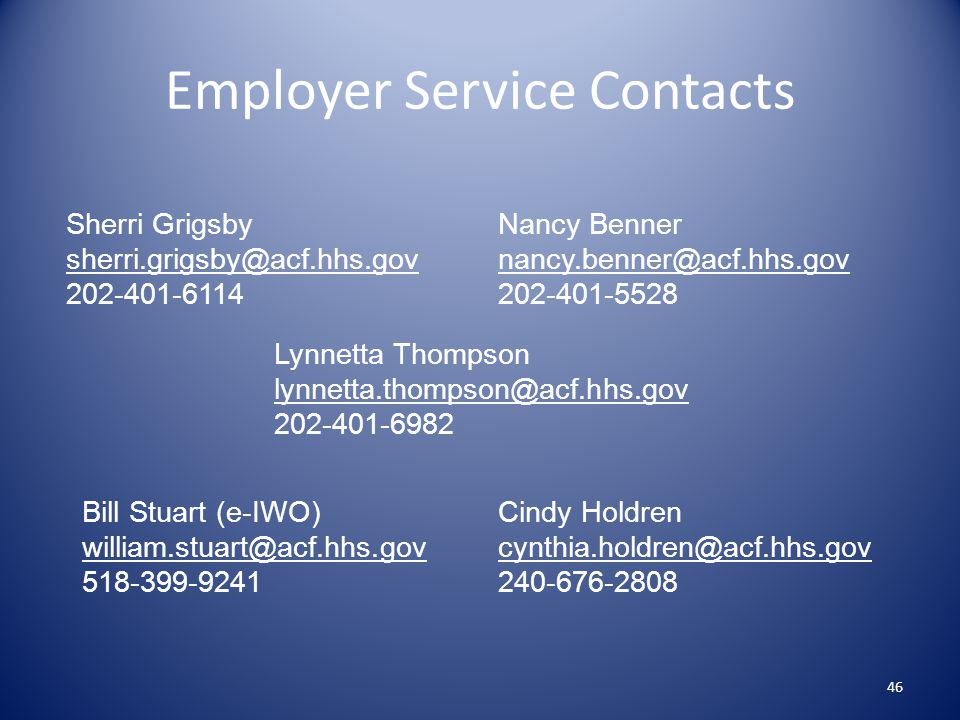 Employer Service Contacts