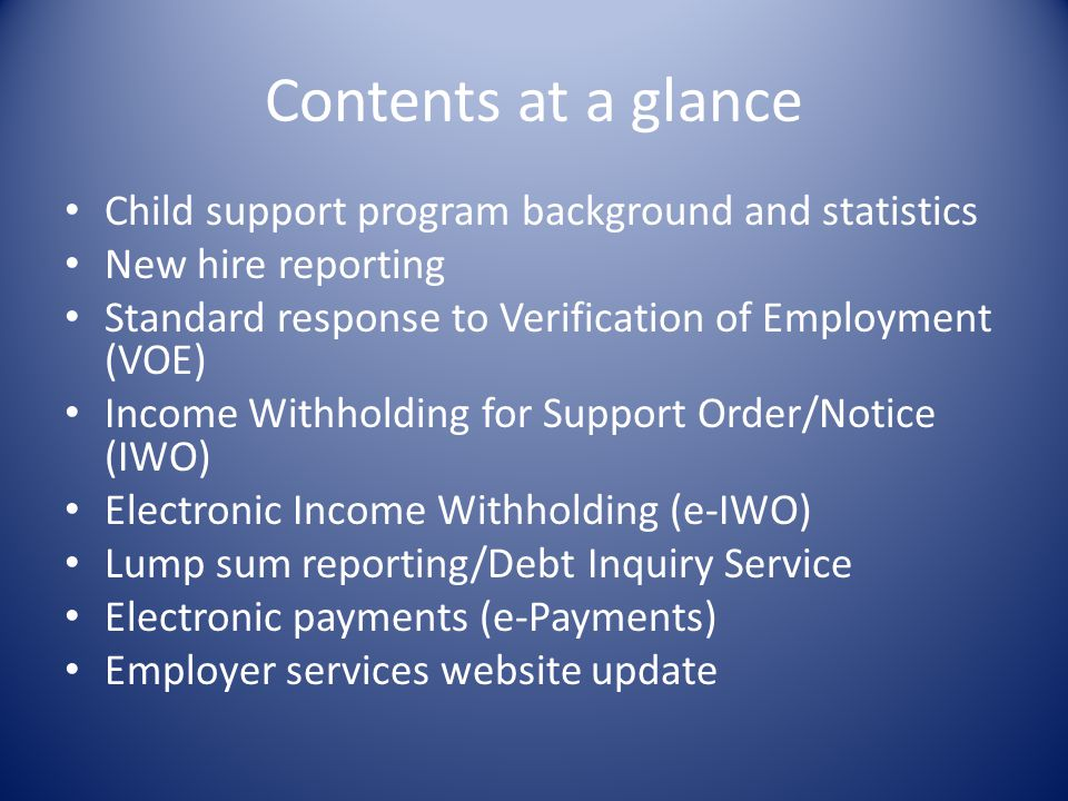 Contents at a glance Child support program background and statistics