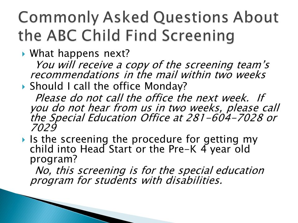 Commonly Asked Questions About the ABC Child Find Screening