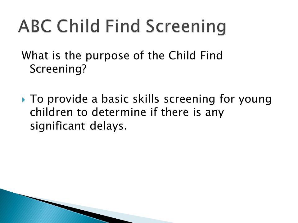 ABC Child Find Screening