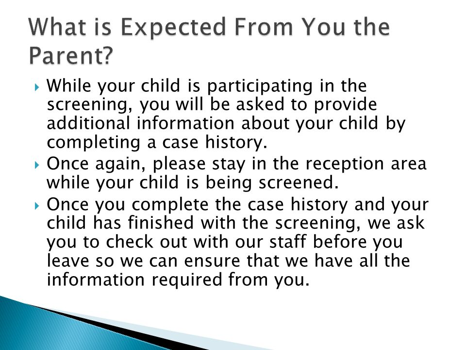 What is Expected From You the Parent