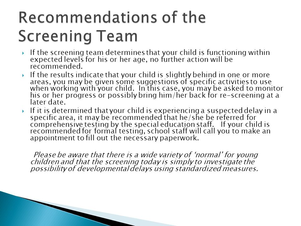 Recommendations of the Screening Team
